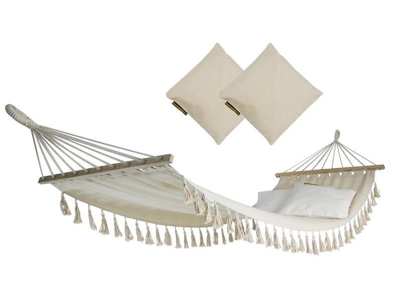 Hamak z drążkiem z poduszkami