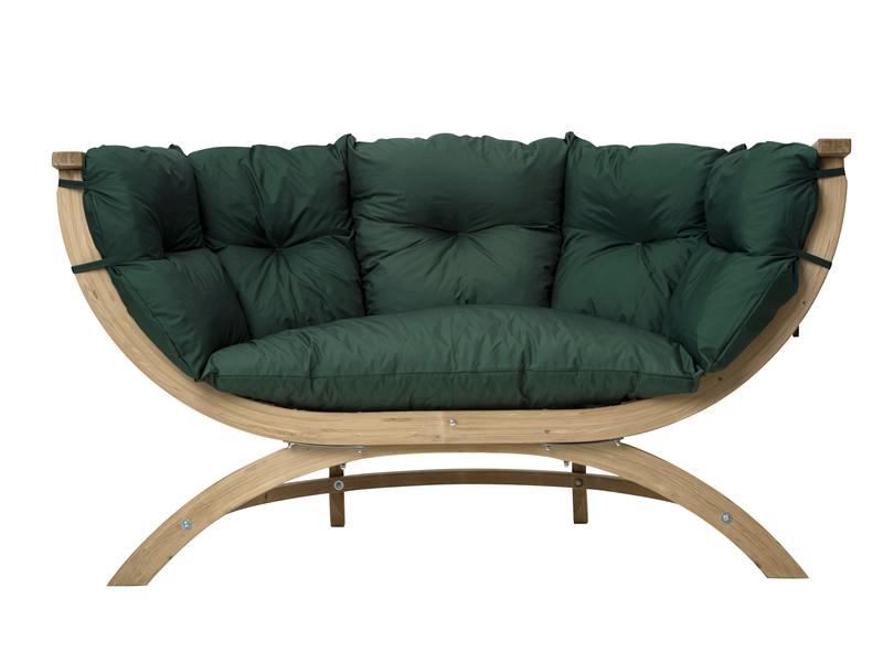 Fotel dwuosobowy drewniany, Siena Due green weatherproof
