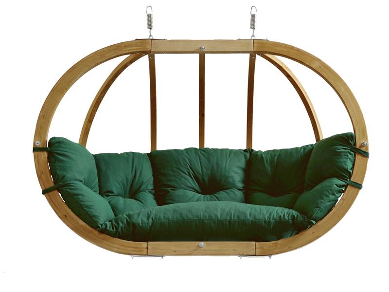Fotel hamakowy dwuosobowy drewniany, Globo Royal green weatherproof