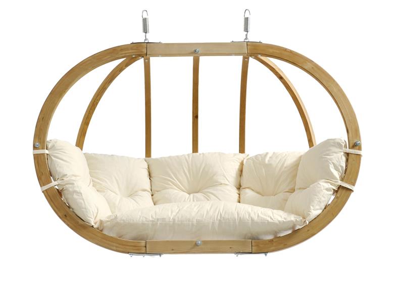 Fotel hamakowy dwuosobowy drewniany, ecru Globo Royal Chair natura