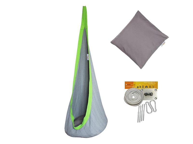 Fotel hamakowy mały dla dzieci + zestaw montażowy z poduszką, szary FHD-S