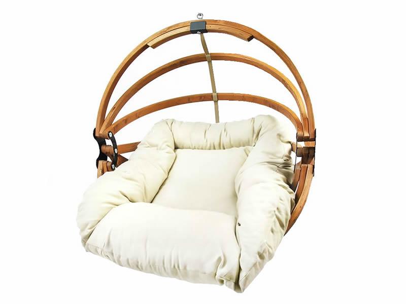 Fotel hamakowy drewniany, ecru Gaya (L)-E