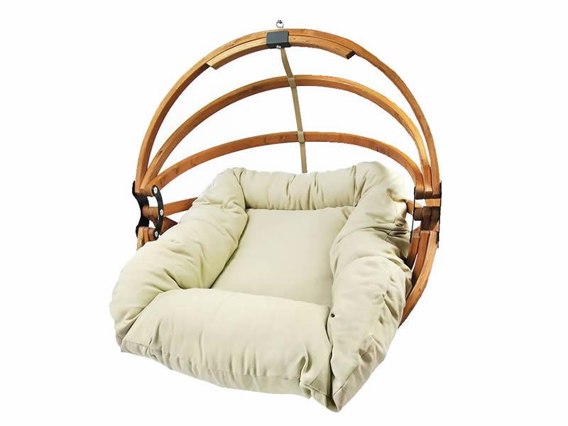 Fotel hamakowy drewniany, miodowy beż Gaya (M)-B