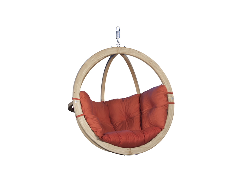 Fotel hamakowy drewniany, Czerwony Swing Chair Single