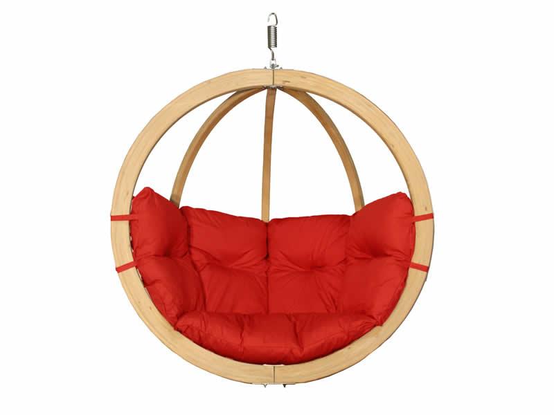 Fotel hamakowy drewniany, Czerwony Swing Chair Single (3)