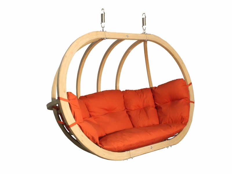 Fotel hamakowy drewniany, Czerwony Swing Chair Double (3)