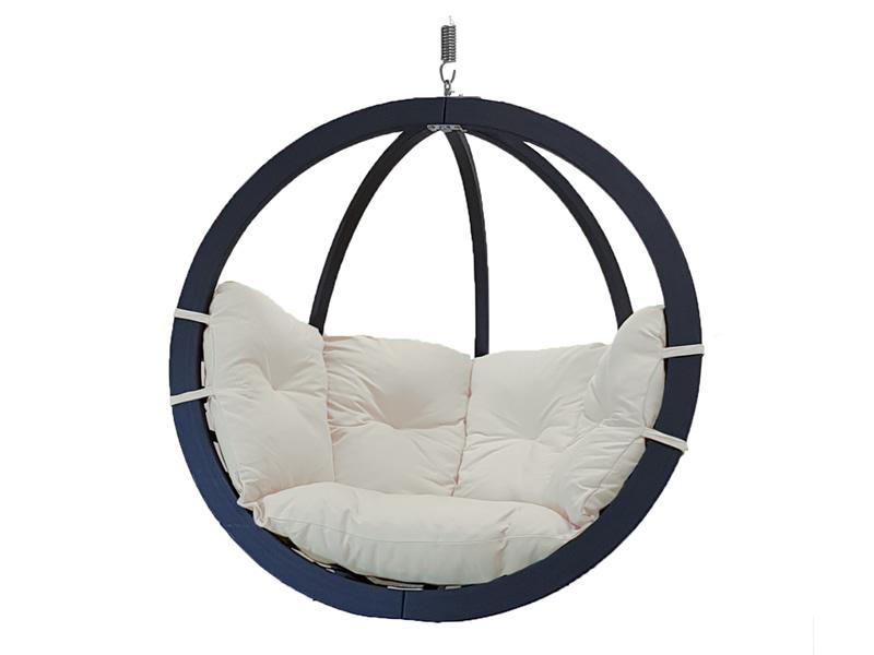 Fotel hamakowy drewniany, ecru Swing Chair Single antracyt ecru