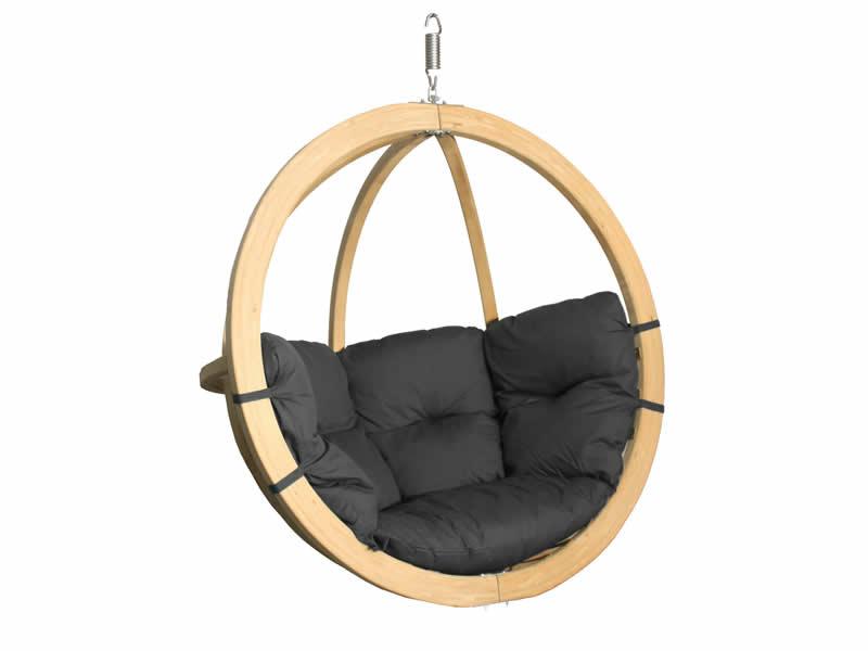 Fotel hamakowy drewniany, grafitowy Swing Chair Single (3)