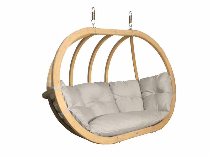Fotel hamakowy drewniany, kremowy Swing Chair Double (3)