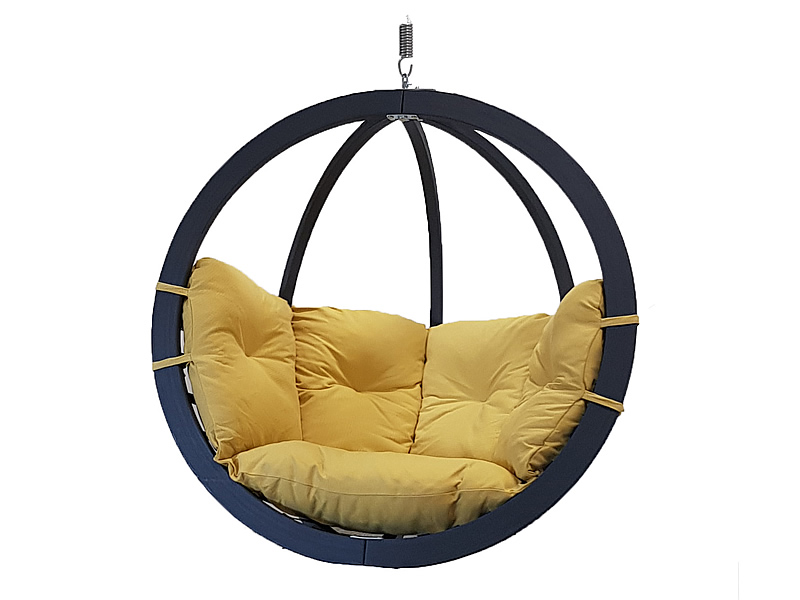 Fotel hamakowy drewniany, musztardowy Swing Chair Single antracyt
