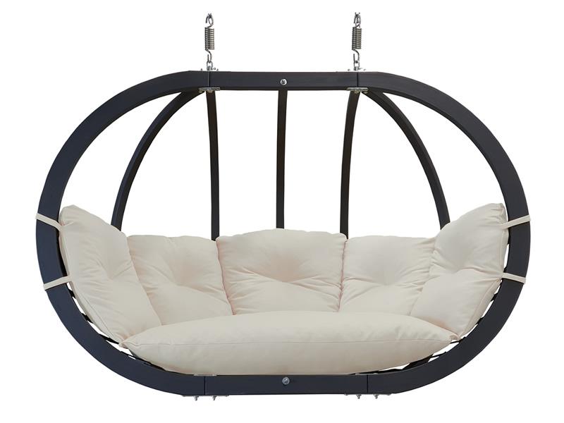 Fotel hamakowy drewniany podwójny, ecru Swing Chair Double antracyt ecru