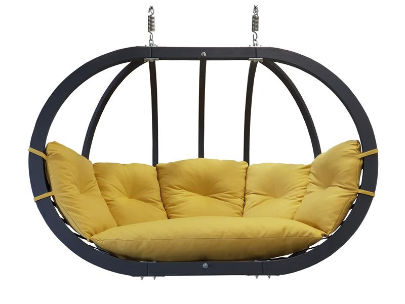Fotel hamakowy drewniany podwójny, musztardowy Swing Chair Double antracyt