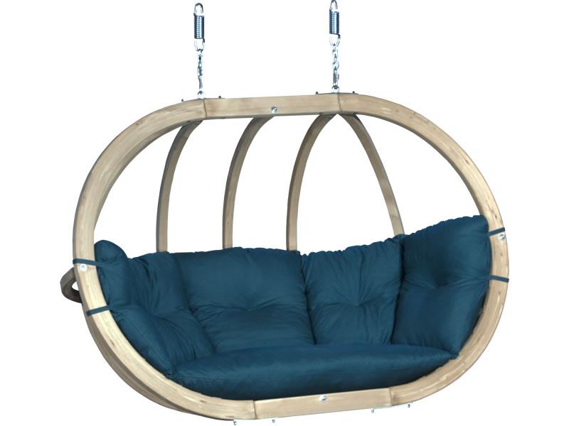 Fotel hamakowy drewniany, Zielony Swing Chair Double