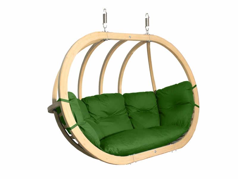 Fotel hamakowy drewniany, zielony Swing Chair Double (3)