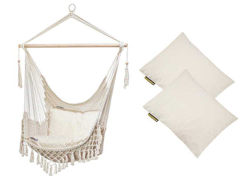 Sznurkowy Fotel hamakowy z poduszkami, ecru AHC-7