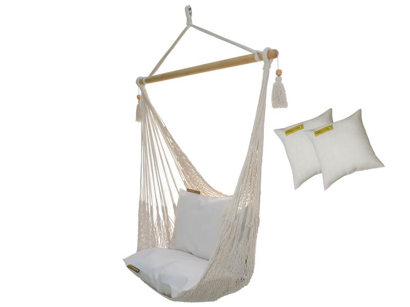 Sznurkowy Fotel hamakowy z poduszkami, ecru AHC-8-PZS