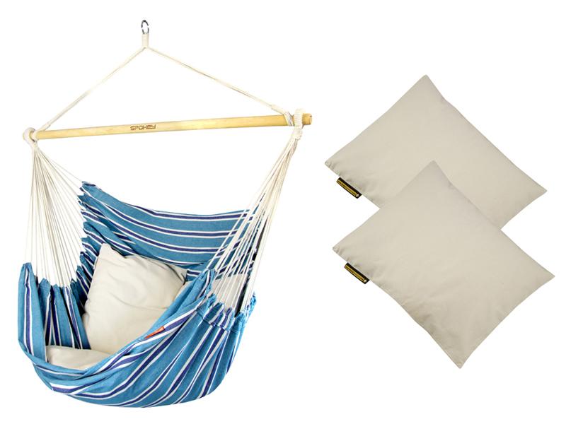Fotel hamakowy z poduszkami HP, niebiesko-biały Bench De Luxe + HP - 209