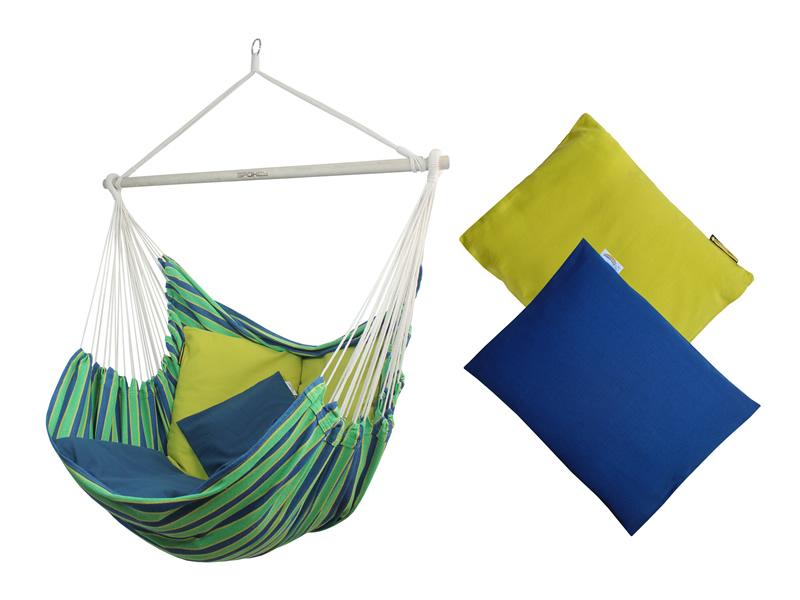 Fotel hamakowy z poduszkami HP, Zielony Bench De Luxe + HP-113 + HP- 303