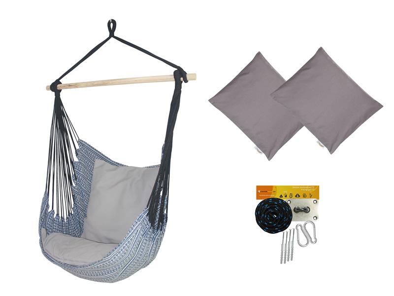 Fotel hamakowy z poduszkami i zestawem montażowym, Granatowy Etno + HP-111 + koala/fix/ch2