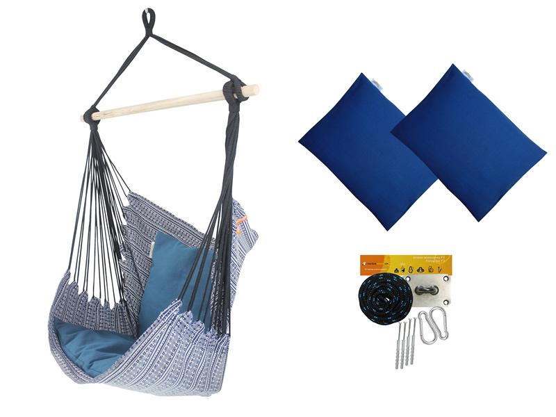 Fotel hamakowy z poduszkami i zestawem montażowym, Granatowy Etno + HP-113 + koala/fix/ch2