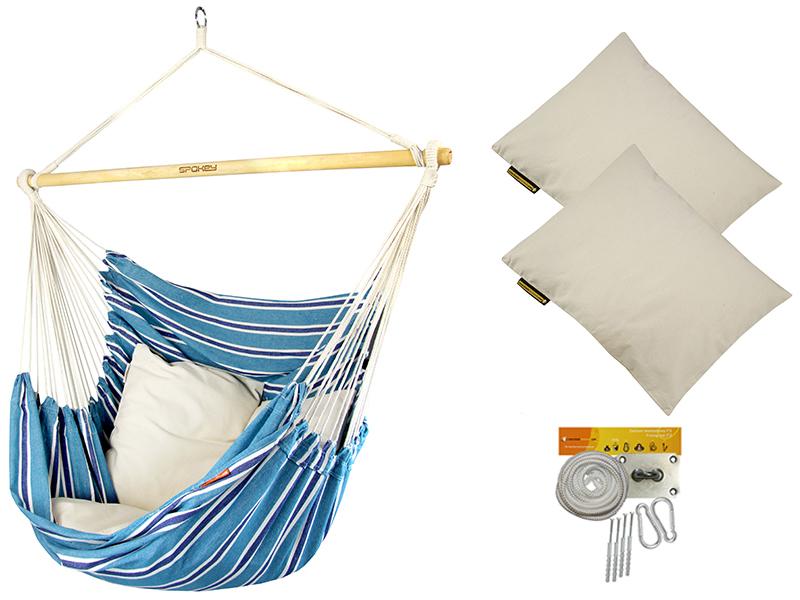 Fotel hamakowy z poduszkami i zestawem montażowym, niebiesko-biały Bench De Luxe + 2 x HP-209 + F3