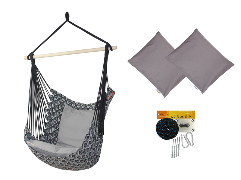 Fotel hamakowy z poduszkami i zestawem montażowym, Szary Etno + HP-111 + koala/fix/ch2