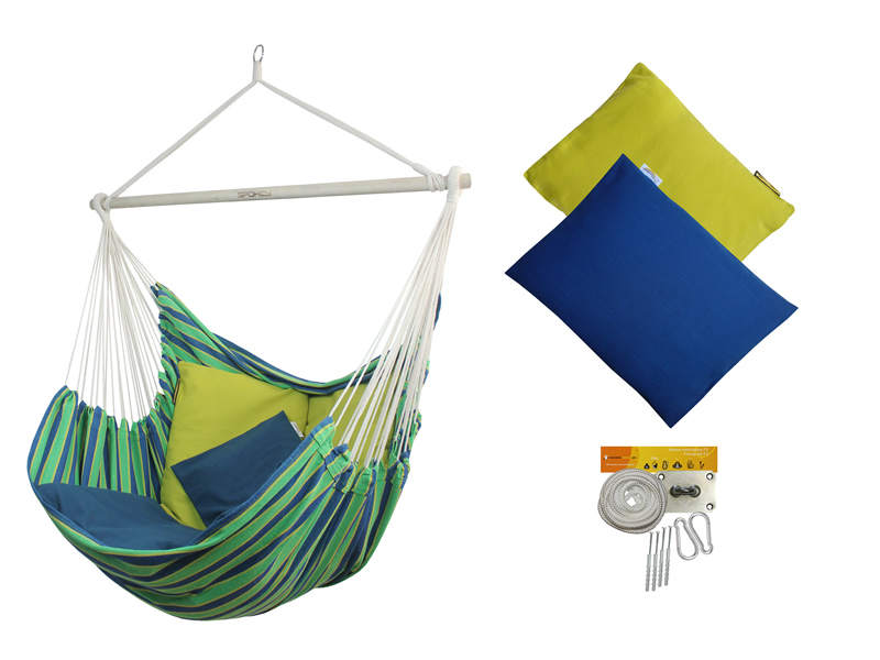 Fotel hamakowy z poduszkami i zestawem montażowym, Bench De Luxe+HP-113 + HP-303+F3