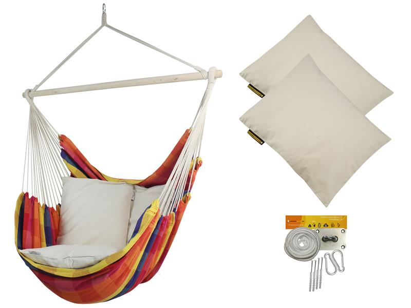 Fotel hamakowy z poduszkami i zestawem montażowym, żólto-czerwony Bench De Luxe + 2 x HP-209 + F3