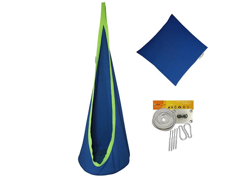 Fotel hamakowy dla dzieci + zestaw montażowy z poduszką, niebieski FHD-B