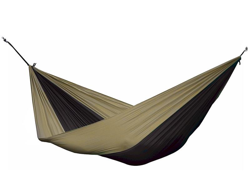 Hamak turystyczny dwuosobowy Parachute, brązowo-czarny PAR2