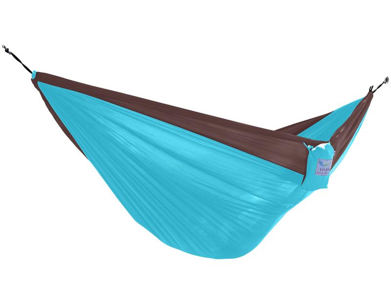 Hamak turystyczny dwuosobowy Parachute, brązowo-niebieski PAR2