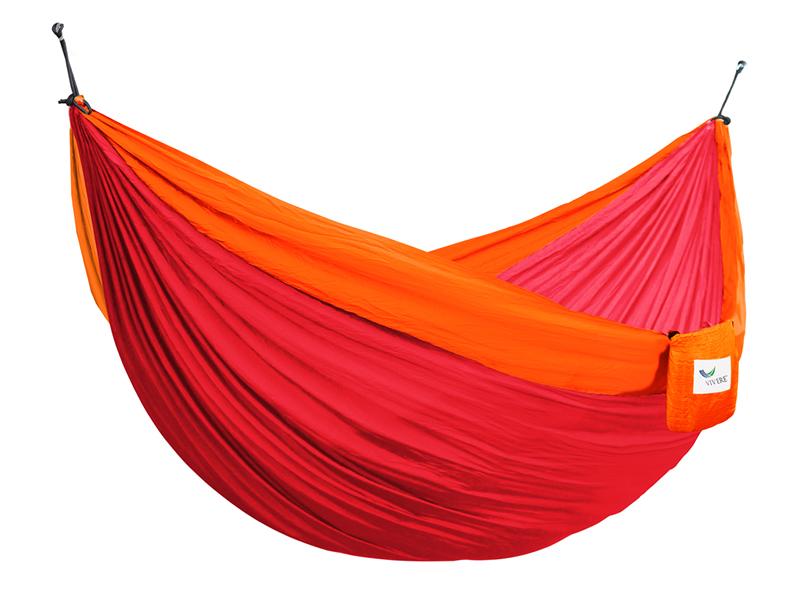 Hamak turystyczny dwuosobowy Parachute, czerwono-pomarańczowy PAR2