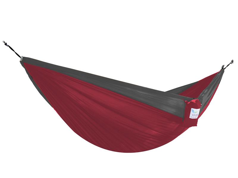 Hamak turystyczny dwuosobowy Parachute, czerwono-szary PAR2