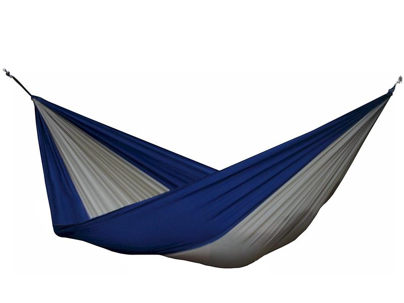 Hamak turystyczny dwuosobowy Parachute, niebiesko-brązowy PAR2