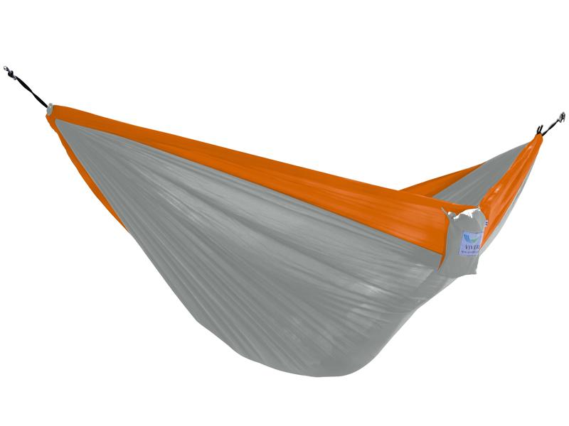 Hamak turystyczny dwuosobowy Parachute, pomarańczowo-szary PAR2
