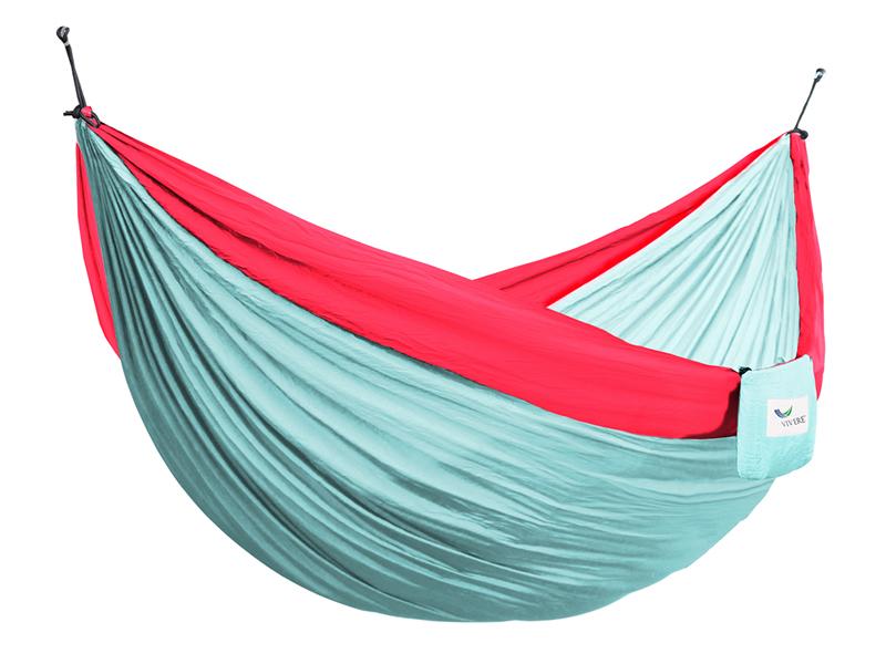 Hamak turystyczny dwuosobowy Parachute, turkusowo-czerwony PAR2