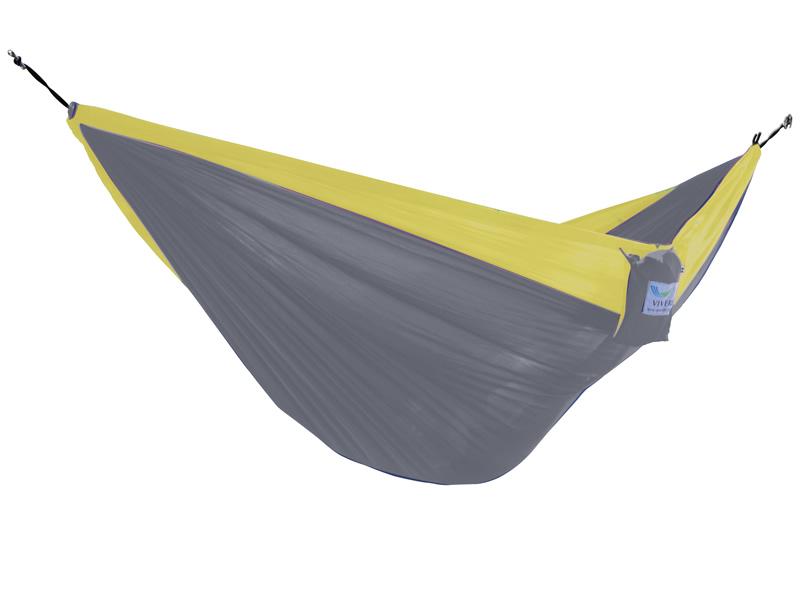Hamak turystyczny dwuosobowy Parachute, żółto-szary PAR2