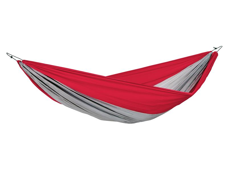 Hamak turystyczny, czerwono-szary Silk traveller XXL
