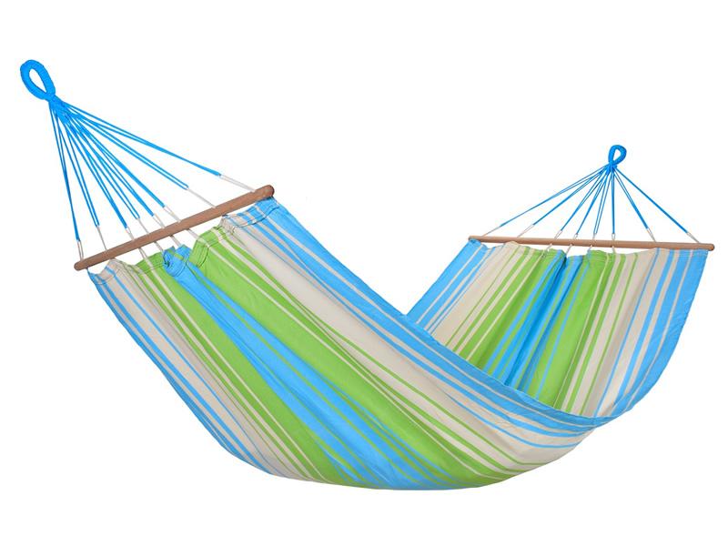 Jednoosobowy hamak z drążkiem, niebiesko-zielony KOLOR