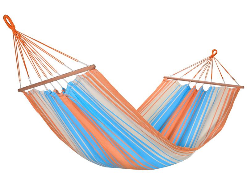 Jednoosobowy hamak z drążkiem, pomarańczowo-niebieski KOLOR