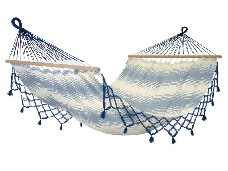 Hamak z drążkiem, ecru-niebieski KOMPLICE fringes