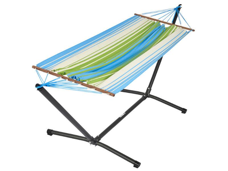 Metalowy stojak i hamak Kolor, niebiesko-zielony MetaliK Set Kolor