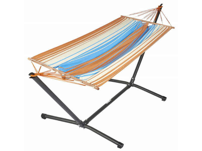 Metalowy stojak i hamak Kolor, pomarańczowo-niebieski MetaliK Set Kolor