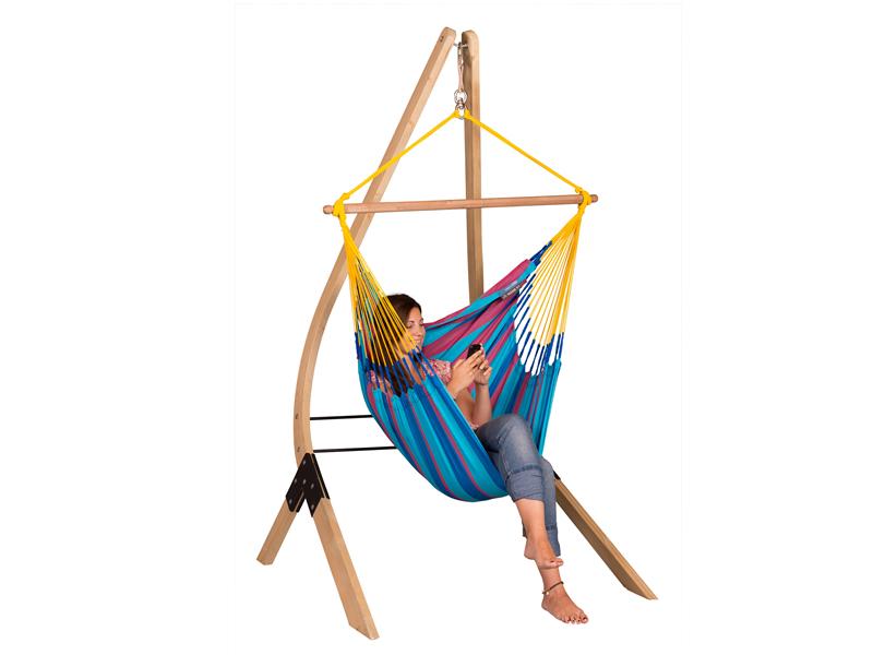 Zestaw hamakowy: fotel hamakowy Sonrisa ze stojakiem Vela, niebiesko-fioletowy SNC14VEA13