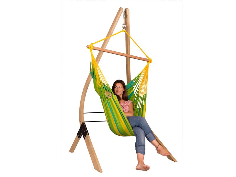 Zestaw hamakowy: fotel hamakowy Sonrisa ze stojakiem Vela, zielono-żółty SNC14VEA13