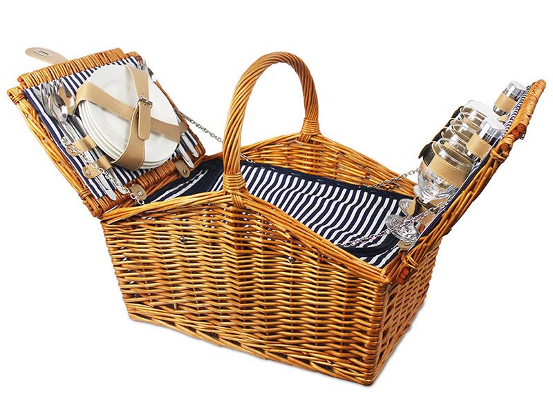 Kosz piknikowy lawendowe wzgórza, granatowo-biały KLW