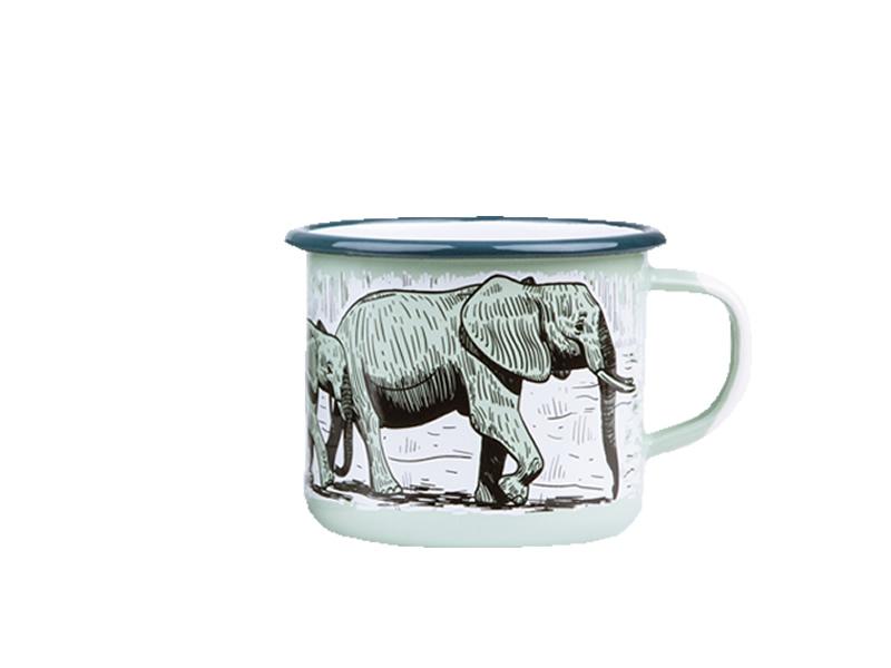 Kubek emaliowany, zielony groszek Elephant