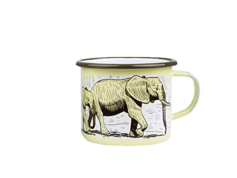 Kubek emaliowany, zielony Elephant