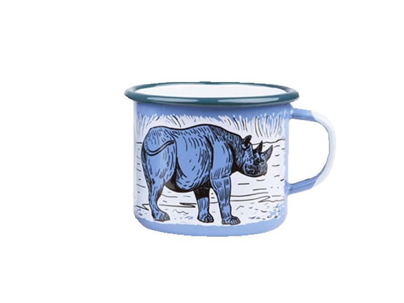 Kubek emaliowany, niebieski Rhino
