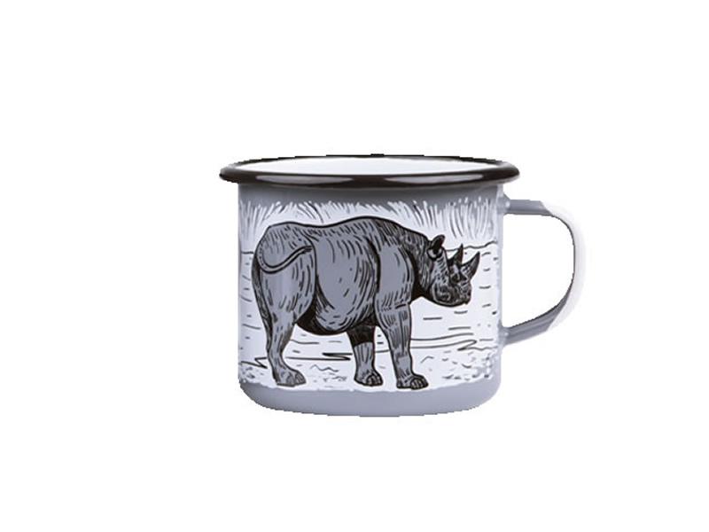 Kubek emaliowany, szary Rhino